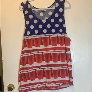 Pong Tank Top with American Flag Theme.
